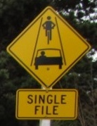 Single File Sign for Cyclists and Motorists