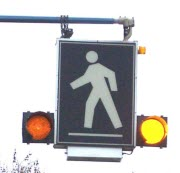 Close-up Photo of Special Crosswalk Overhead Sign