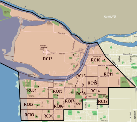 Richmond Centre Voting Divisions Map