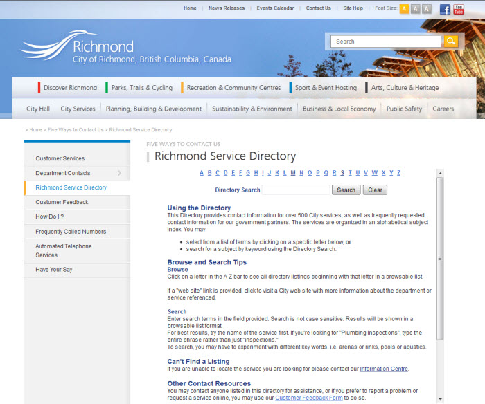 Service Directory Link