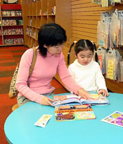Mother and Child Reading in Library